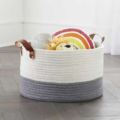 Leather Handle Large Floor Rope Basket - Crate and Barrel