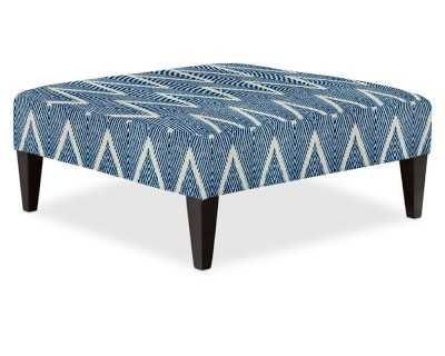 Fairfax Square Ottoman With Tapered Leg, Untufted/42 In, Cotton, Zig Zag, Navy, Polished Nickel - Williams Sonoma