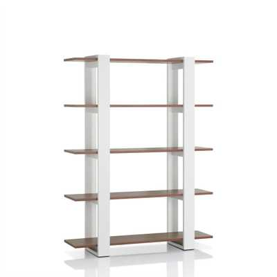 62.4 in. White/Walnut Wood 5-shelf Etagere Bookcase with Open Back - Home Depot
