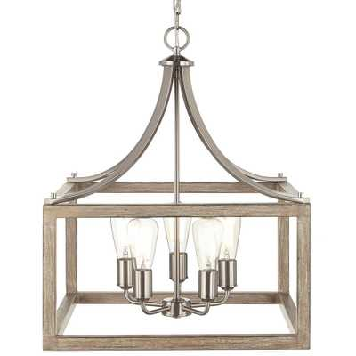 Home Decorators Collection Boswell Quarter Collection 22.83 in. 5-Light Brushed Nickel Pendant - Home Depot