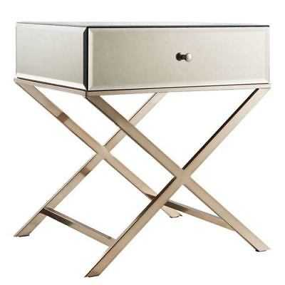 HomeHills Prezia Champagne Brass Mirrored Table - 22E423-4BS3A - eBay