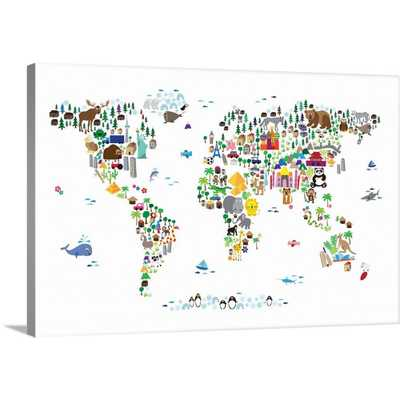 Animal Map of the World for children, White by Michael Tompsett Canvas Wall Art, Multi-Color - Home Depot