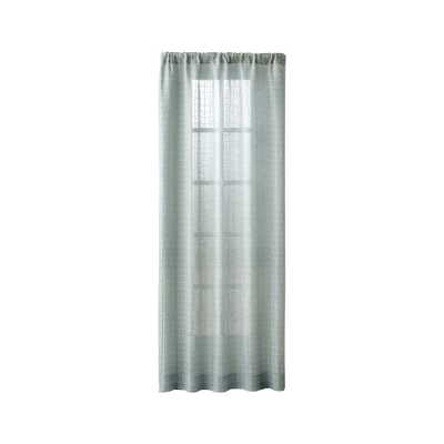 "Isabela Aqua Grid Curtain Panel 50""x84"" - Crate and Barrel"