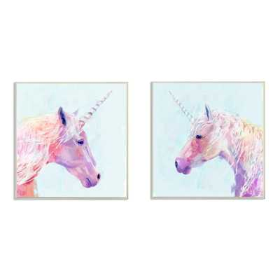 """12 in. x 12 in. """"Painted Mystic Unicorns Portraits"""" by Victoria Borges Printed Wood Wall Art, Multi-Colored - Home Depot"""