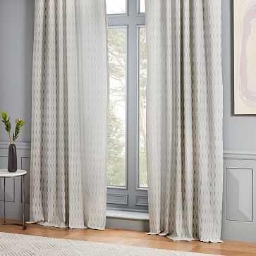 "Block Dash Jacquard Curtain, Silver, 48""x96"" - West Elm"
