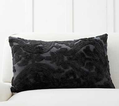 "Natalia Silk Jacquard Lumbar Pillow Cover, 16 x 26"", Ebony - Pottery Barn"