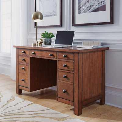 Tahoe Aged Maple Executive Pedestal Desk - Home Depot