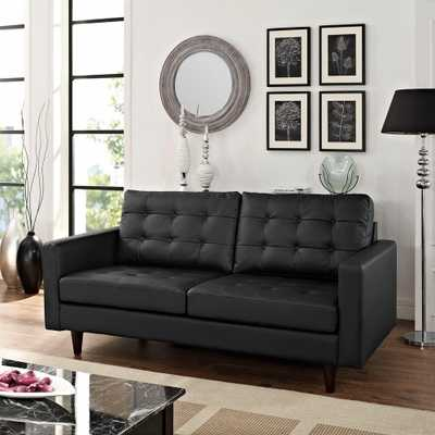 Empress Black Bonded Leather Loveseat - Home Depot