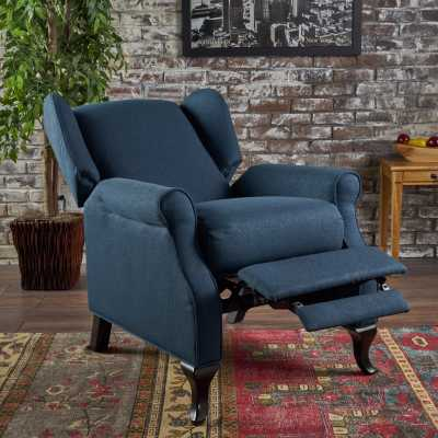 Domingo Traditional Winged Fabric Recliner: Navy Blue - eBay