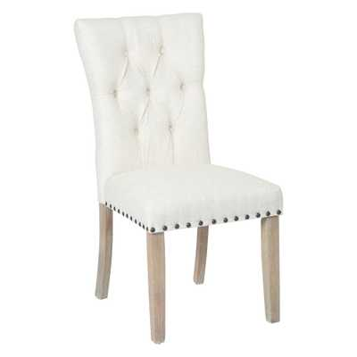 Preston Linen Fabric Dining Chair with Bronze Nailheads and Brushed Legs, Linen Polyester - Home Depot