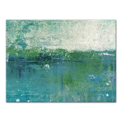 30 in. x 40 in. ''Blue Green Coastal Abstract'' Printed Canvas Wall Art - Home Depot