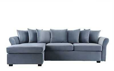 Modern Velvet Sectional Sofa Classic L Shape Couch with Chaise Lounge Light Grey - eBay