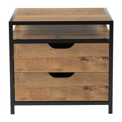 OSP Designs Quinton 2-Drawer alvage Oak and Matte Black Coating Fully Assembled Nightstand, Salvage Oak/Matte Black - Home Depot