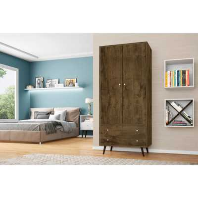 Liberty 31.89 in. Rustic Brown Mid Century- Modern Armoire with 2 Drawers, 1 Shelf and Hanging Rod, Rustic Brown/Matte - Home Depot