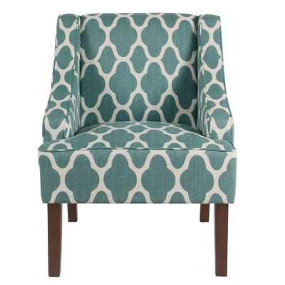 Geometric Light Teal Classic Swoop Arm Chair - Home Depot