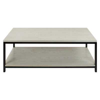 Studio White Washed Solid Red Oak Top/Shelf Coffee Table - Home Depot