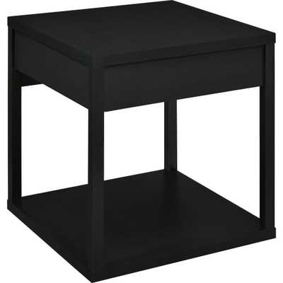 Nelsons Black End Table with Drawer, Black Finish - Home Depot
