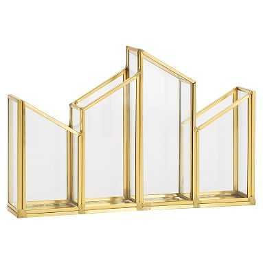 Skyline 4 Section Pencil Holder, Glass/Gold - Pottery Barn Teen