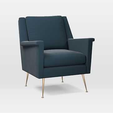 Carlo Mid-Century Chair, Astor Velvet, Lagoon, Brass - West Elm