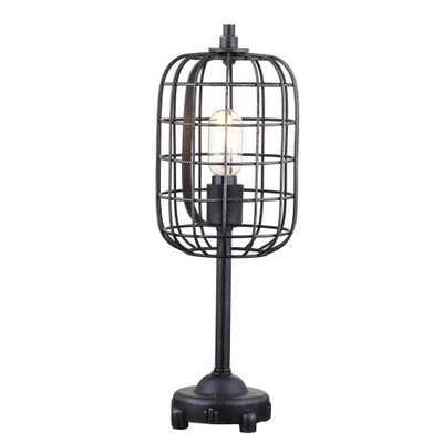 JONATHAN Y Odette 20 in. Black/Silver Industrial Metal Table Lamp - Home Depot