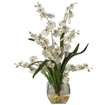 19 in. Dancing Lady Orchid Liquid Illusion Silk Flower Arrangement in White - Home Depot