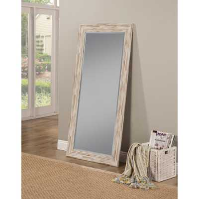 Farmhouse Antique White Wash Leaner Floor Mirror - Home Depot