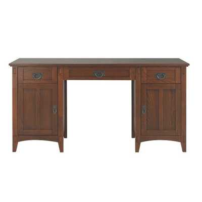 Artisan Medium Oak Executive Desk with Storage - Home Depot