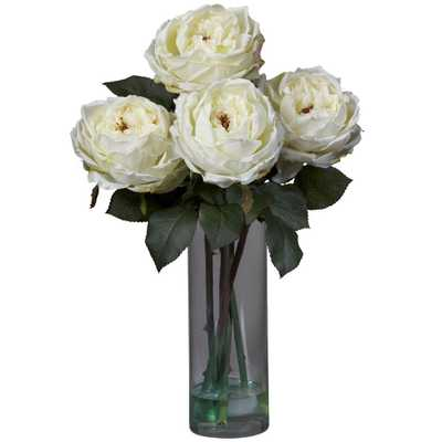 Nearly Natural 18 in. H White Fancy Rose with Cylinder Vase Silk Flower Arrangement - Home Depot