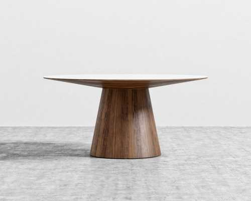 Winston Dining Table - 63- Walnut Veneer High Gloss White Lacquer - Rove Concepts