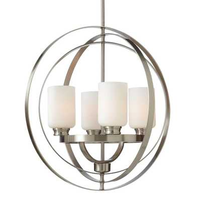 Home Decorators Collection 24 in. 4-Light Brushed Nickel Chandelier with Etched White Glass Shades - Home Depot