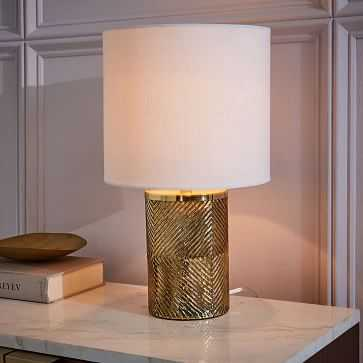 Etched Glass Table Lamp, Brass, White - West Elm