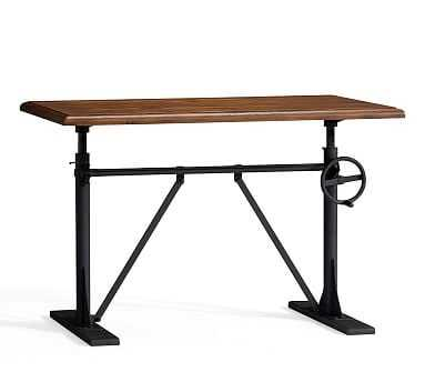 Pittsburgh Crank Sit-Stand Desk, Vintage Chestnut - Pottery Barn