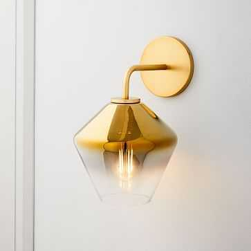Sculptural Glass Geo Sconce, Small Geo, Gold Ombre, Shade, Brass Canopy - West Elm