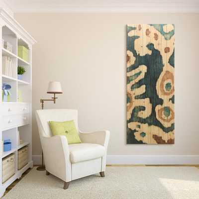 "Empire Art Direct 60 in. x 24 in. ""Ocean Ikat B"" Arte de Legno Digital Print on Solid Wood Wall Art, Multi Color - Home Depot"