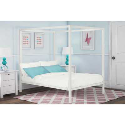 Modern Metal Canopy Full Size Bed Frame in White - Home Depot