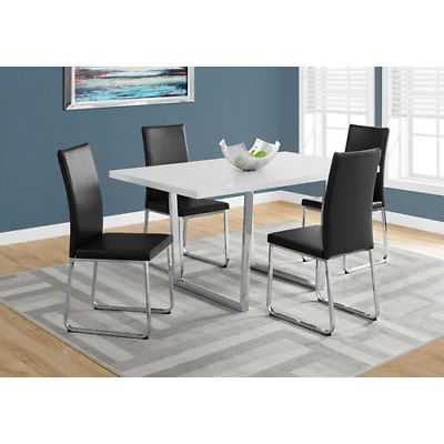 Hawthorne Ave White Glossy Dining Table with Chrome Metal - 199101-2055075-251 - eBay