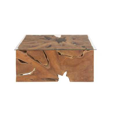 Brown Reclaimed Teak Wood Coffee Table with Clear Glass Top - Home Depot