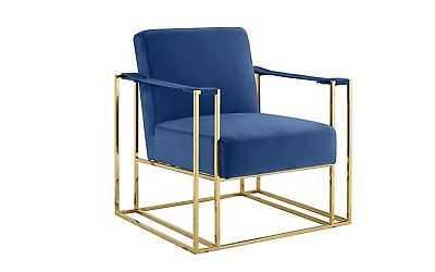 Classic Elegant Living Room Velvet Armchair, Accent Chair with Gold Fame, Blue - eBay