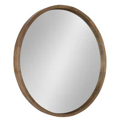 Hutton Round Rustic Brown Mirror - Home Depot