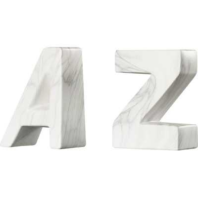 """A"" and ""Z"" Ceramic Book Ends - AllModern"