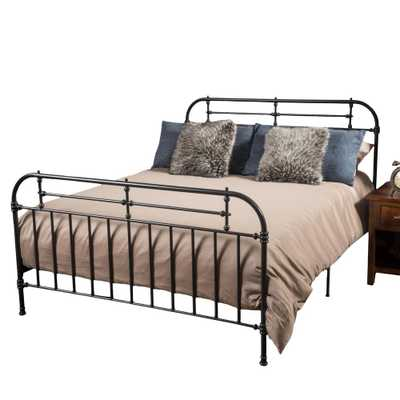 Noble House Dark Charcoal Gray Iron King Bed Frame - Home Depot