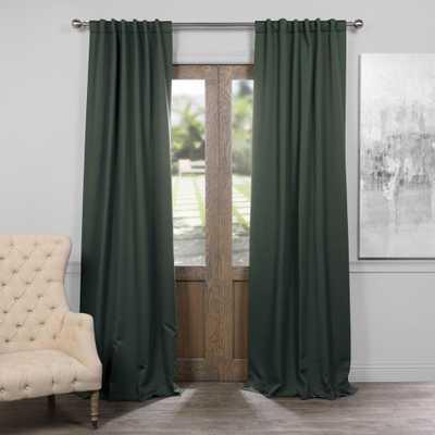 Exclusive Fabrics & Furnishings Semi-Opaque Dark Mallard Green Blackout Curtain - 50 in. W x 96 in. L (Panel) - Home Depot