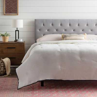 Brookside Emmie Adjustable Stone (Grey) King/Cal King Upholstered Headboard - Home Depot