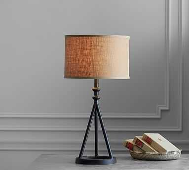 Orson Table Lamp, Bronze Base With Medium Straight Sided Burlap Drum Shade, Natural - Pottery Barn