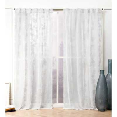 Nicole Miller Odense Silver Sheer Hidden Tab Top Curtain Panel - 54 in. W x 84 in. L (2-Panel) - Home Depot