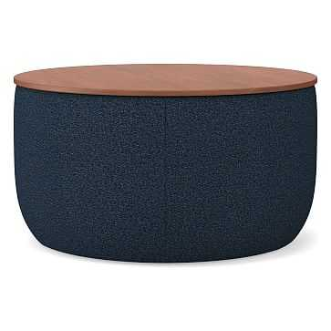 Upholstered Storage Base Ottoman - Large, Poly, Chenille Tweed, Nightshade, Dark Mineral - West Elm