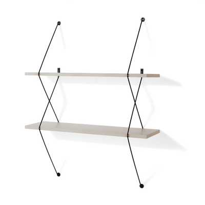 Contemporary 31.5 in. W x 38.5 in. H Two Level Grey Shelving System with Black Wire Brackets, Gray - Home Depot