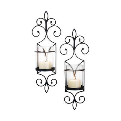 Pentaro 18 in. Rustic Iron And Clear Glass Wall Sconce Candle Holders (Set of 2), Brown/Tan - Home Depot