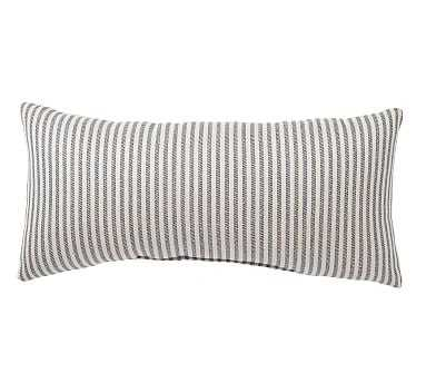 "Sunbrella(R) Claremont Stripe Indoor/Outdoor Pillow, 12 x 24"", Navy - Pottery Barn"