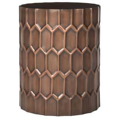 Corey Antique Copper Side Table - Home Depot